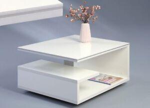 Couchtisch Beistelltisch - KIEL - Tisch 77 x 39 x 60cm Hochglanz Weiß auf Rollen