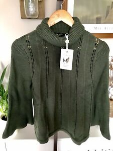 Ted Baker Jennan Jumper RRP £129 Size Size 1 UK 8 Wool blend Khaki Bell Sleeve