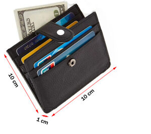 Slim Minimalist Leather Wallet, Holds up to 8 Cards, Zip Bank Notes, 1 ID Window