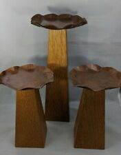 Vintage Mid Century Handcrafted Art/Crafts Wood/Copper Candle Holders By B. Bain