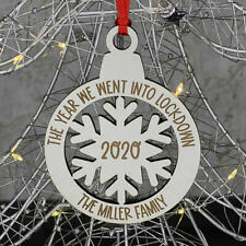 PERSONALISED WHITE LOCKDOWN 2020 FAMILY CHRISTMAS TREE DECORATION BAUBLE GIFT