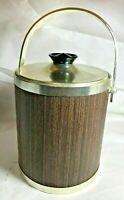 Vintage Kromex USA Ice Bucket Wood Chrome Vinyl Brown Plastic Mid Century Modern