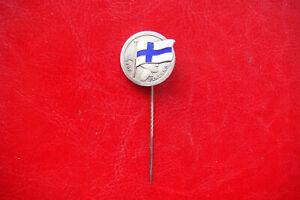 WWII FOR FINLAND SILVER ENAMEL K&EC SWEDEN Pin Badge AIR FORCE PATRIOTIC BADGE