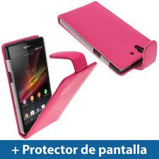Rosa Funda Eco-Piel para Sony Xperia Z Android Smartphone Carcasa Case Cover