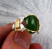 Green Jade Gemstone Ring in 14KT  Rolled Gold and Sterling Silver Size 5 to 15