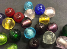 Mixed Silver Foil Round Glass Beads Pk 20 B105