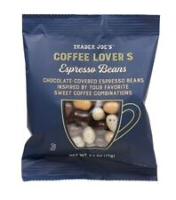 6 Bags TRADER JOE'S COFFEE LOVER'S ESPRESSO BEANS CHOCOLATE COVERED 2.5 OZ Each