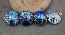 Iris Orbits - Handmade Glass Lampwork Coin Beads - elasia SRA MTO