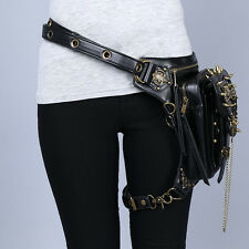 Men Women Rock Leather Retro Vintage Gothic Steam-Punk Shoulder Waist Bag #2