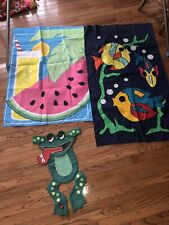 Lot Of 3 Decorative Flags For Summer - Fish, Frog, Watermelon