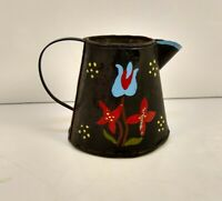 Small Antique Metal Rustic primitive  Toleware creamer/pitcher