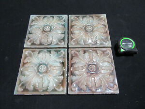 ~ 4 MATCHING ANTIQUE VICTORIAN TILES FLORAL 6 X 6 ~ ARCHITECTURAL SALVAGE