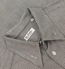 Pal Zileri Black/White Geometric Striped L/S Mens Dress Shirt 41/16 Italy