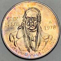 1978 MEXICO 100 PESOS SILVER ORANGE TONED UNC COLOR STUNNING GEM CHOICE BU (DR)
