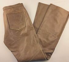 Vintage GAP Sz 2 Leather Pants Caramel Waxed Topstitched Lined Motorcycle Style