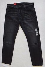 Levi's 501 CT Button Fly Jeans Men's Factory Ripped Knees Black Denim Size 36x32