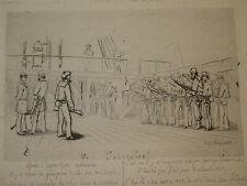 Léon PÂRIS GRAVURE EAU FORTE QUOTIDIEN MARINE BATEAU NAPOLEON III CADART 1870 e