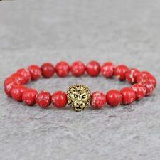 Handgefertigtes Löwen Armband rot Sea Sediment Perlen Lion Buddha Fashion Gold