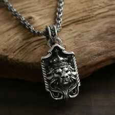 viking Sword lion head pendant 100% Real 925 sterling silver Pendant necklace