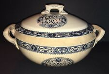 "Tureen Antique Ironstone Transferware Tureen - Blue & White ~ 13"" Wide x 7"" Tall"