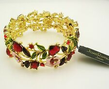 Joan Rivers Enamel & Crystal Hearts & Flowers Bracelet  Average Pink & Red