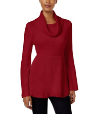 Style &Co Turtleneck Ribbed Baby Doll Sweater  Red PM