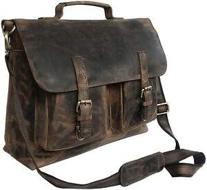 "18"" Inch Retro Buffalo Hunter Leather Laptop Messenger Bag Office Briefcase"