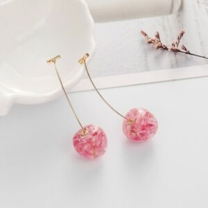 Pink Cherry Fruit Simulation Earrings Ear Drop Stud Women Cute Hot