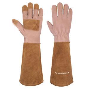 1 Pair/3 Pairs Long Sleeve Pigskin Leather Gardening Gloves Puncture Resistan