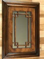 """Heavy Wood Rectangle Mirror with inset Wood Accents 24.25""""H x 16.75""""W Home Decor"""
