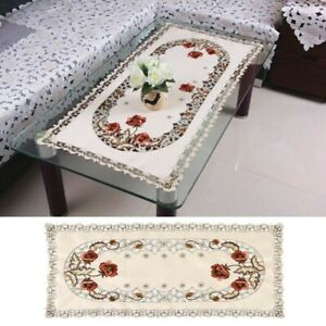 Oval Vintage Embroidered Lace Floral Table Cloth/Mat Celebrations Decoration