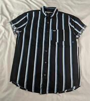 Hollister Men's Stretch Poplin Slim Fit Shirt SH3 Black Stripe Small NWT