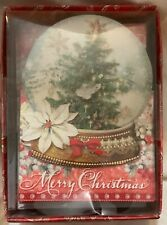 Punch Studio 10 Merry Christmas Cards Old World Tree Snow Globe Embellished