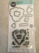Sizzix Stamp & Framelits Die Set by Jen Long Heart Arrows Flowers,Hello Love NEW