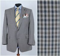 Mens DAKS Size UK 44S Brown Gingham Check Wool Sport Coat Blazer Jacket