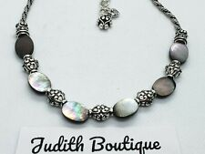 BRIGHTON Abalone Shell Link Silver  Necklace