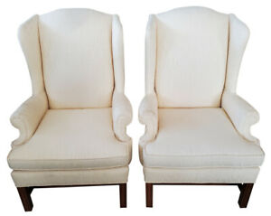 """Lovely Pair of Wingback Chairs, Cream Color, 43.5""""H, PA5939RS"""
