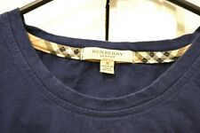 BURBERRY Mens Long Sleeve T-Shirt Tee Fashion Trendy Size S Cotton Blue