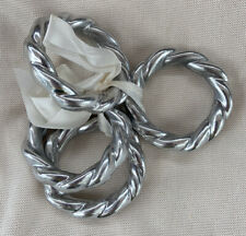 4 Braided Napkin Rings Holders Silver Color