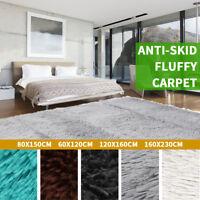 2019 Fluffy Rugs Anti-Skid Shag Area Rug Dining Room Bedroom Carpet Floor Mat