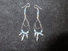 Chandelier Dangle Earrings Genuine Beaded Crystal Sky Blue Wired Silver Tone