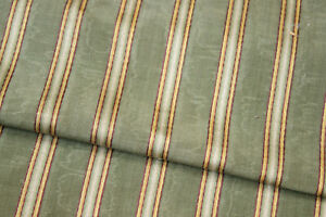 Silk Moire Striped Fabric & Valance Green and Gold French c1900 woven textile