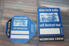 NIN Nine Inch Nails  - 2x Unused Backstage Pass -  FREE SHIPPING - lot#09