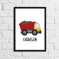 Boys Bedroom Personalised Name Prints / Pictures Construction Vehicles