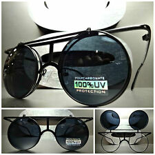 CLASSIC VINTAGE RETRO LENNON DEAN FLIP UP Round SUN GLASSES Black Fashion Frame