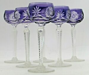 AMETHYST Set of SIX Vintage BOHEMIAN Liqueur, Sherry, Port GLASSES Cut to Clear