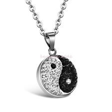 Fashion Rhinestone Split Coin Yin Yang Stainless Steel Pendant Chain Necklace