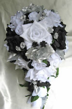 Wedding bouquet 21 piece package Bridal bouquets Silk flowers BLACK WHITE SILVER