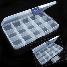 Plastique 10/15/24 Compartiments Boîte de Rangement Étui Coffret Stockage Bijoux