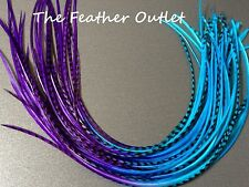 Lot 10 Grizzly Feather Hair Extensions long thin striped Real Tie Dye Ombre Blue